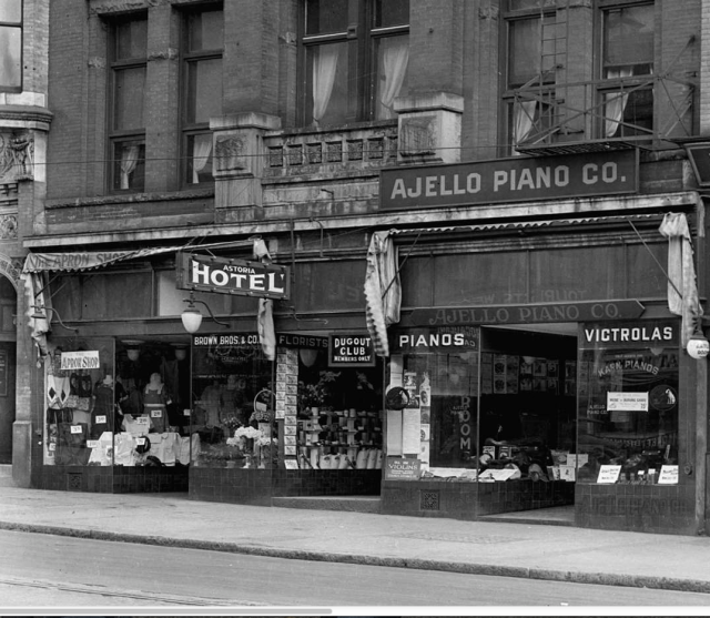 Detail of Str N52.1 - [Stores on the northside of Hastings Street between Cambie and Abbott Streets] 1923 WJ Moore photo.
