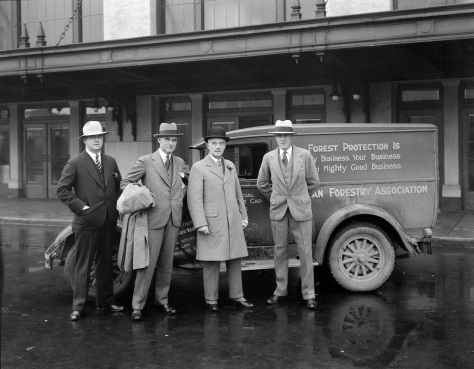 CVA 99-3747 - Canadian Forestry Association - Mayor Malkin and group around car at Pier B-C 1929 Stuart Thomson photo