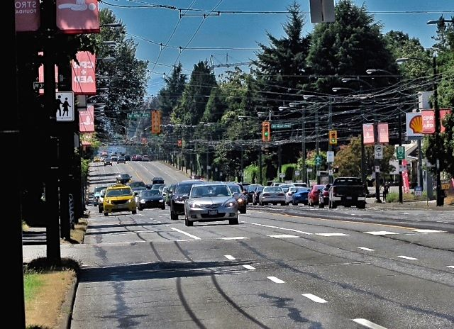 Facing south on Granville Street near 37th Avenue. 2015. Author's photo.