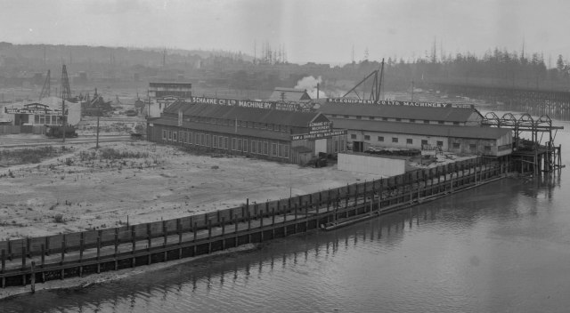 CVA - PAN N97 - [View of Granville Island from atop the north end of the Granville Bridge] 1919 W. J. Moore photo.