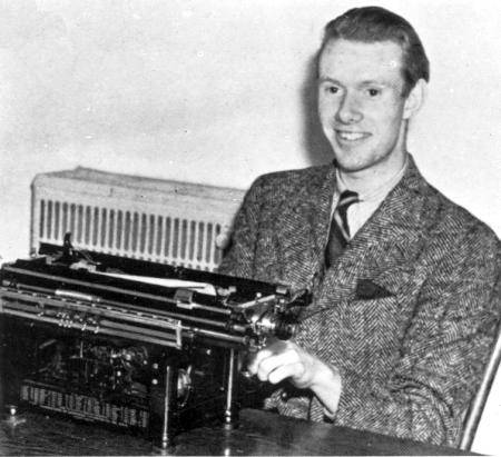 UBC Historical Photo Collection Pierre Berton at typewriter.  Reproduced from 1941 Totem Yearbook.