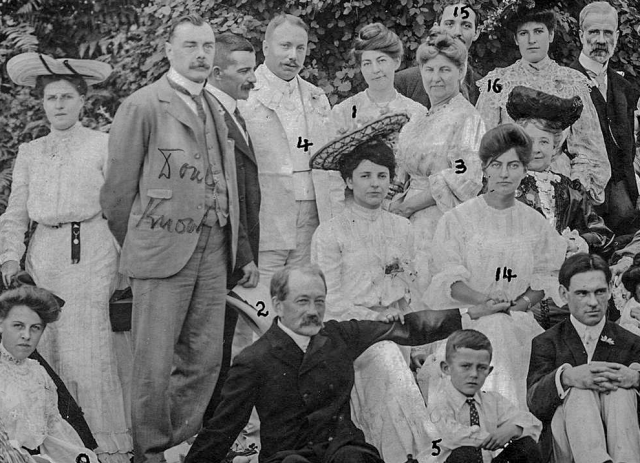 Closer view (cropped) o CVA - Port P1396 - [The wedding party of Mr. and Mrs. W.D. Hopcraft at Skunk Cove] - Rev Roland Grant #2 Aug 4 - 1904.