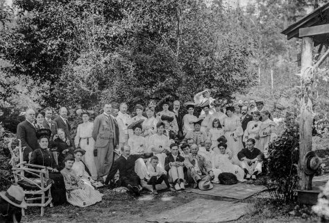 CVA - Port P1396 - [The wedding party of Mr. and Mrs. W.D. Hopcraft at Skunk Cove] - Rev Roland Grant #2 Aug 4 - 1904.