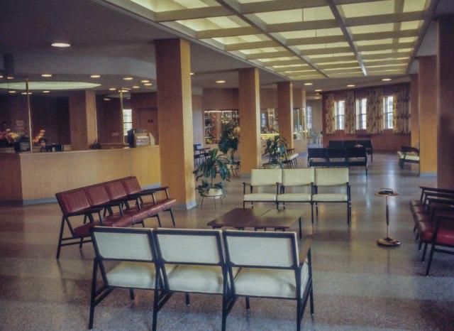 CVA - 2008-022.077 - View of reception area of Vancouver General Hospital's Centennial Pavilion 1959 LF Sheraton photo.