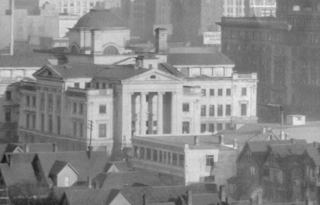 Crop of CVA 1504-1 - [View of Downtown looking north from Burrard Street near Smithe Street] ca 1923 J W Freeston photo.