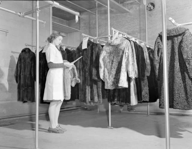 CVA 1184-2243 - [Woman in fur storage vault at Nelsons Laundry] 1940-48 Jack Lindsay photo.