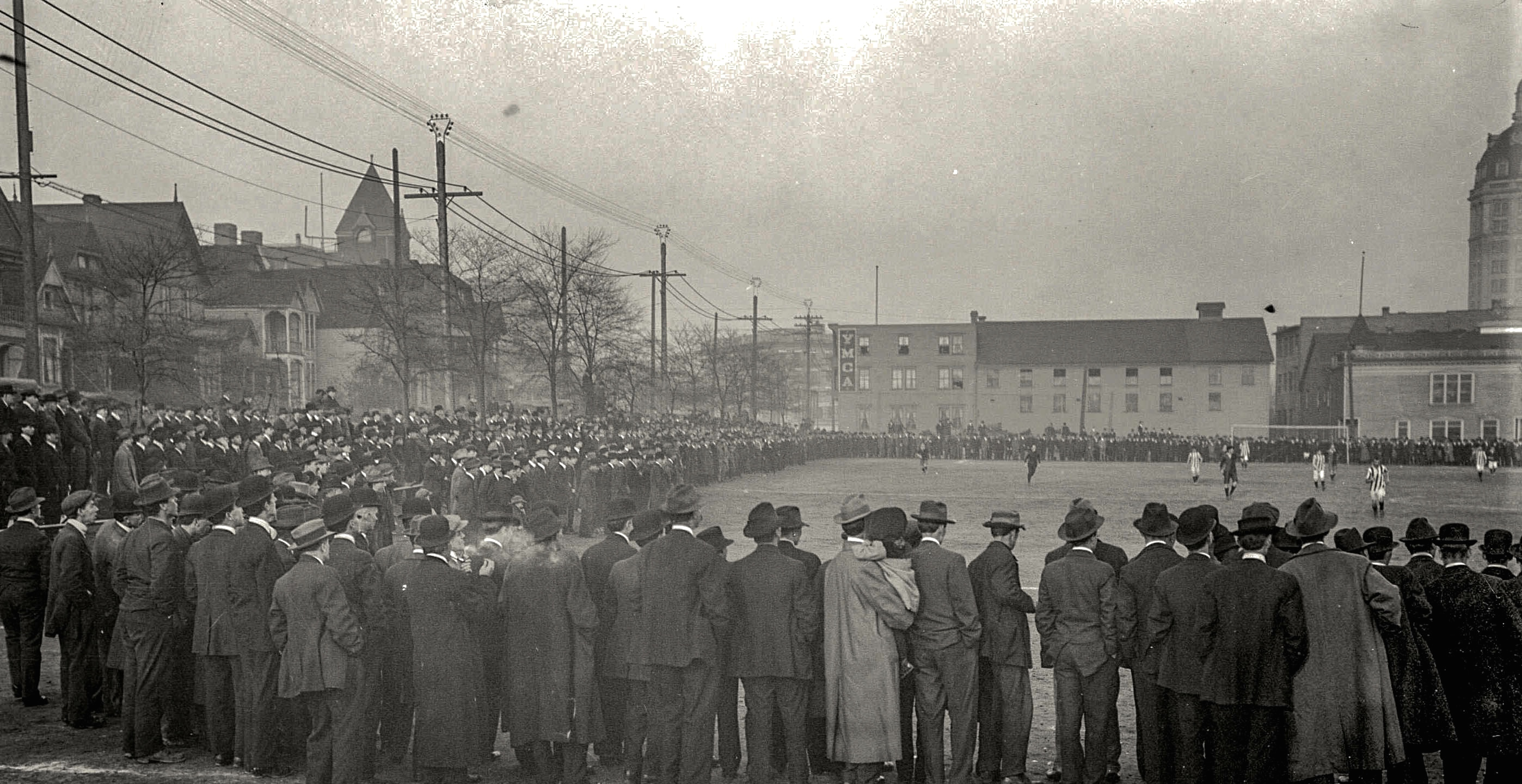 CVA 99-1015 - Crowd watching soccer game in progress at Cambie Street ground ca1920 Stuart Thomson photo.