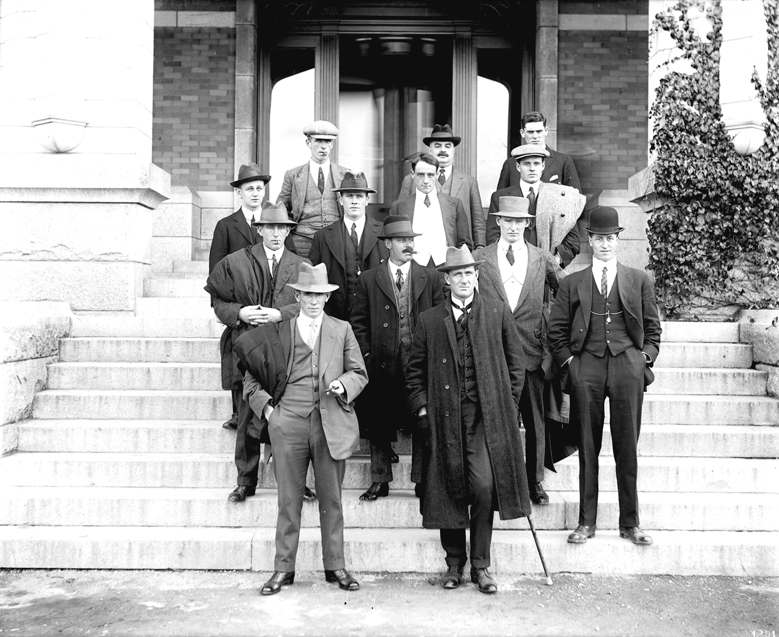 CVA 99-123 - Australian XI [group photo, poss. S. Thomson on right in bowler hat] ca 1911 Stuart Thomson photo.