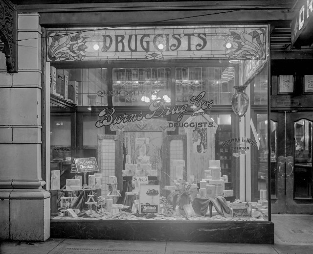 CVA 99-72 - Burns Drug Store [732 Granville Street] [exterior view of window display] ca 1920 Stuart Thomson photo.