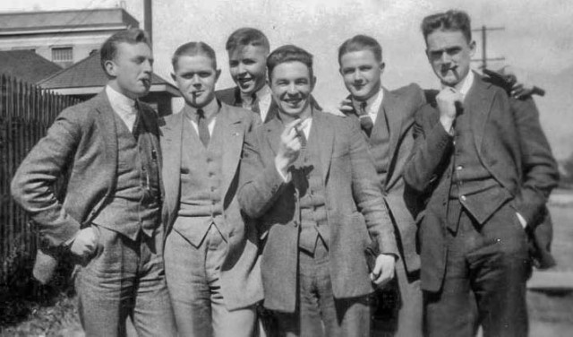 Group photograph of students at Fairview campus of UBC. (Left to right: Jack Clyne, Alan Hunter, Norman Robertson, Ab Richards, Bob Hunter, Keith Shaw). University of British Columbia. Archives.