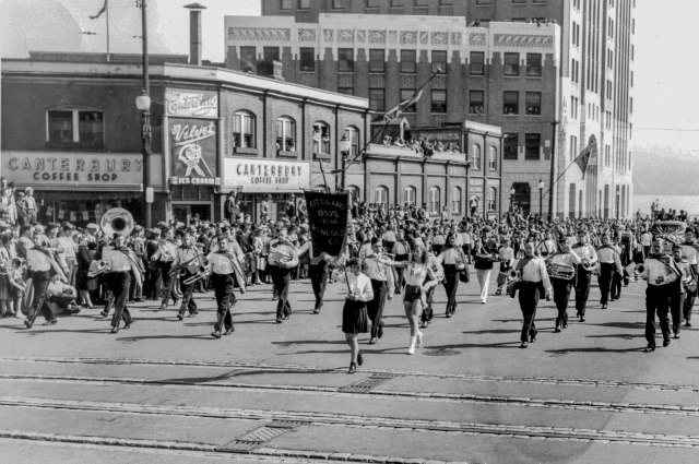 Crop of CVA 294-63 - [The Kitsilano Boys Band in a parade on Burrard Street] 1946-48 Bertram Emery photo.