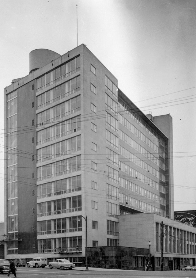 Crop of CVA 447-72 - New Customs Bldg. [1001 West Pender St.] 1955 WE Frost photo.