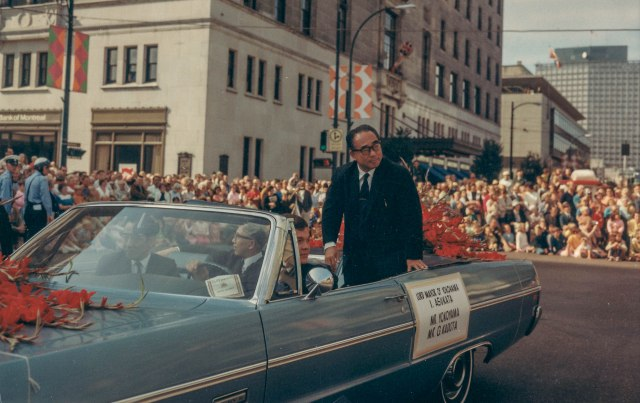 CVA 180-4274.3 - Yokohama Mayor I. Asukata in 1969 P.N.E. Opening Day Parade.