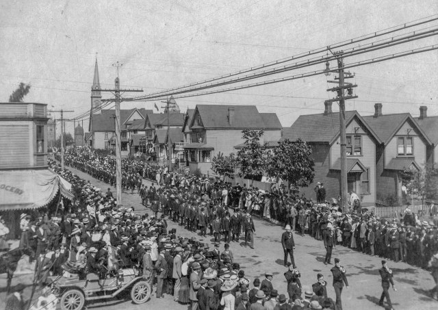 CVA - Port P6.1 - [Procession travelling along Hamilton Street at Georgia Street for the memorial service for the late King Edward VII] May 20,1910 Rosetti Studios photo.
