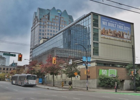 View of Vancouver Community College Downtown Campus from the SE corner of Dunsmuir at Cambie. 2015. Author's photo.
