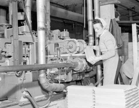 CVA 1184-1985 - [Woman cutting wood at Hammond Furniture] 1940-48 Jack Lindsay photo.