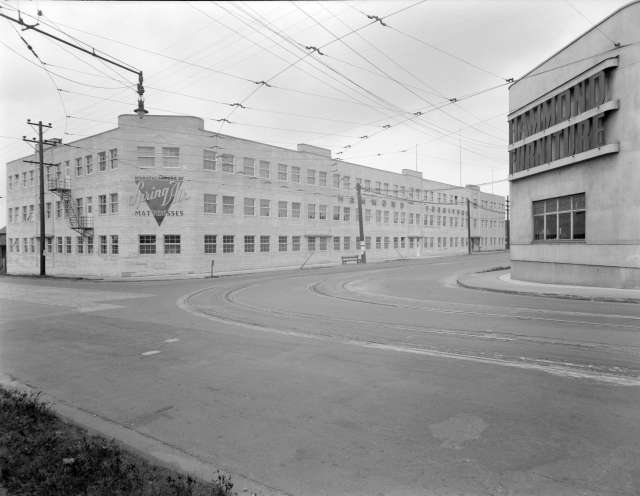 CVA 1184-1988 - [Exterior view of Hammond Furniture warehouse and manufacturing facilities] 1940-48 Jack Lindsay photo.