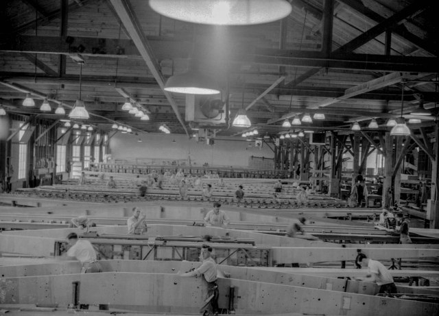 CVA 1184-40 - [Interior view of Boeing aircraft plant on Georgia Street] 1942 Jack Lindsay photo