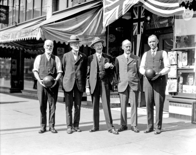 CVA 99-2058 - Bowling tournament, people in front of LaSalle Recreations Ltd., 945 Granville Street 1929, Stuart Thomson photo.