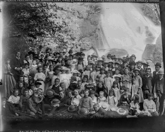 LGN 506 - [Group of men, women and children from the First Baptist Church assembled for picnic at Granite Falls, Indian Arm] 1890?
