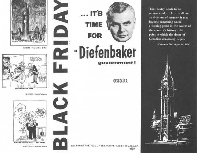 Its Time for Dief pamphlet published by the PC Party. Cover of a pamphlet from Diefenbaker Centre. n.d. (1957?)