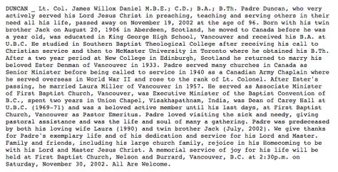 Padre James W. Duncan Obituary. Nov 19, 2002.
