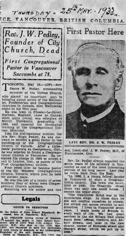 The Province. May 25 1933 Obit of Rev. J. W. Pedley. Clipping from The Bob Stewart Archives of United Church of Canada (BC Conference).