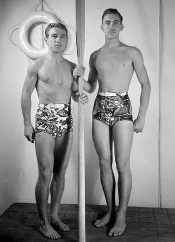 VPL 83107 Men Modelling Rose Marie Reid bathing suits 1948 Artray photo.