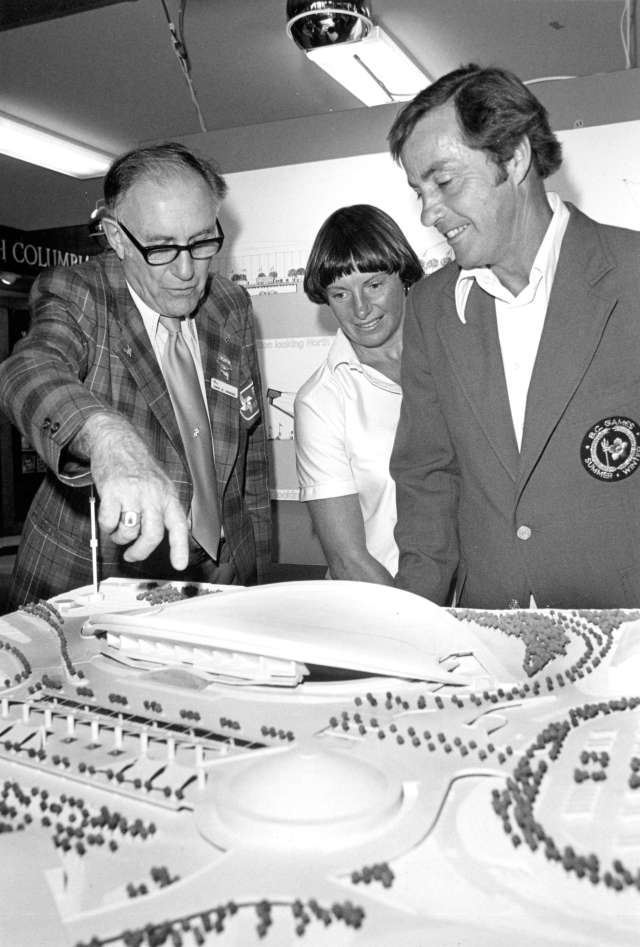 CVA 180-4340 - P.N.E. representative E.M. Swangard shows Premier W.R. Bennett and wife scale model of proposed Multiplex 1978 Robert Dibble photo.