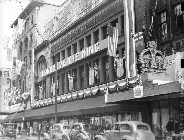 CVA 6-70 - [David Spencer Department Store on Hastings Street decorated for visit of King George VI and Queen Elizabeth] 1939 W B Shelby photo.
