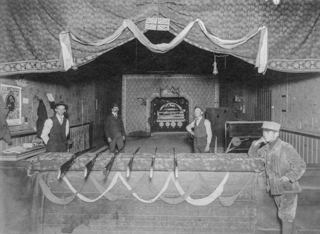 Sp P74 - [The interior of a shooting gallery on Cordova Street] ca 1901