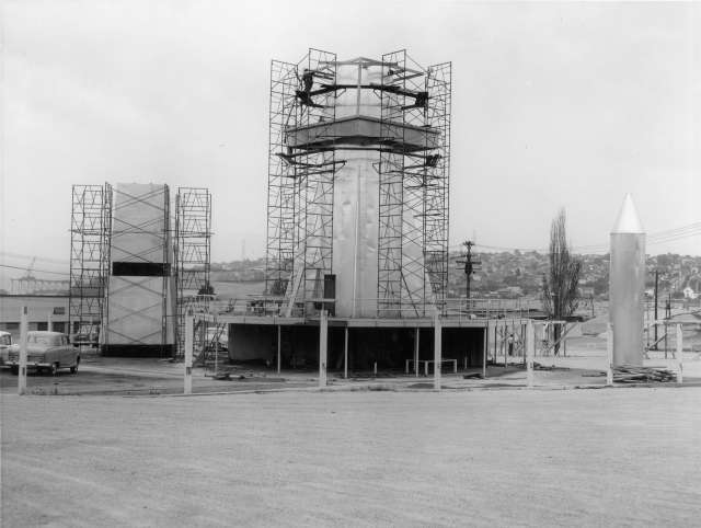 CVA 180-4245 - Construction of a 'Project X' structure on P.N.E. grounds 1959 Graphic Industries photo.