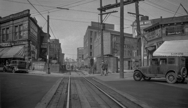 CVA 447-285 - CPR RLY [Canadian Pacific Railway] tracks and Carrall Street ca 1930 WE Frost photo-2