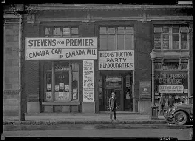 vpl7878 View of the Reconstruction Party Headquarters in the Western Canada Building, 416 W. Pender, with advertising for H.H. Stevens for Premier 1935 Frank Leonard