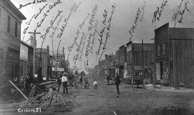 Str P7 - Cordova Street [looking west from Carrall Street] - July 1886 - five weeks after the fire. July 1886