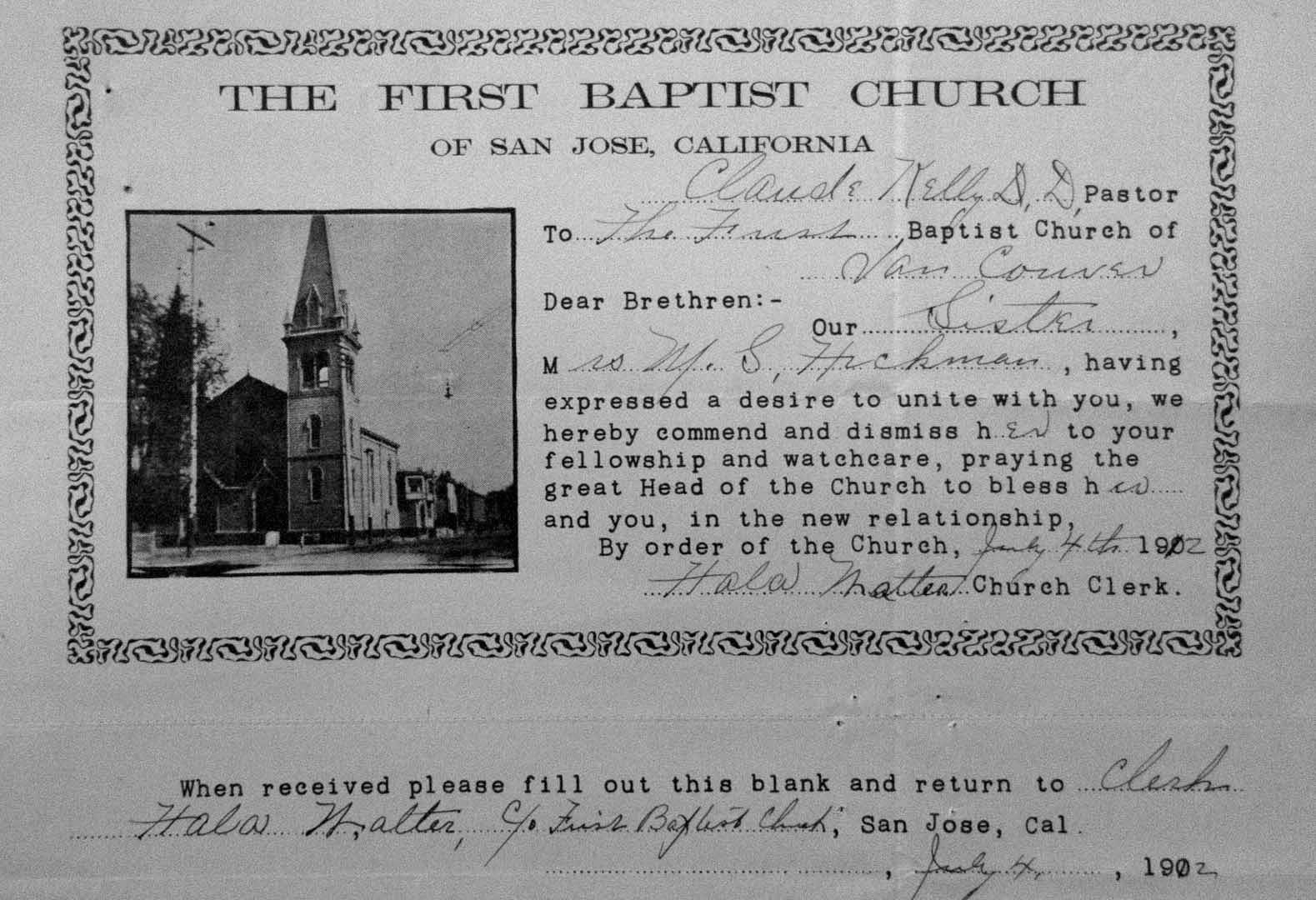 Church membership transfers vancouver as it was a photo b an example of a form style of membership transfer from correspondence 1902 archives first baptist church vancouver bc altavistaventures Choice Image