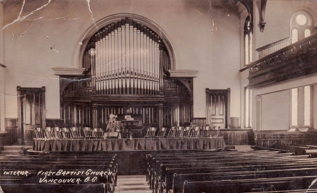 Postcard showing interior of FBC Hamilton:Dunsmuir-Side1