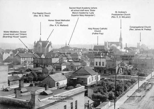 Van Sc P38.4 - Looking south toward Pender Street from Hastings Street and Seymour Street 1892 Charles S. Bailey