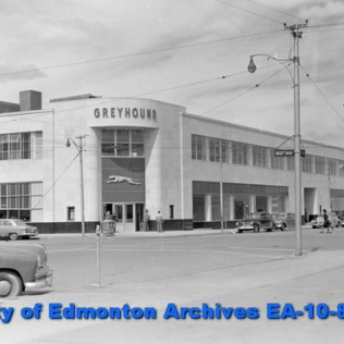 Edmonton City Archives EA-10-869. The former EDMONTON Greyhound Depot. 1941.