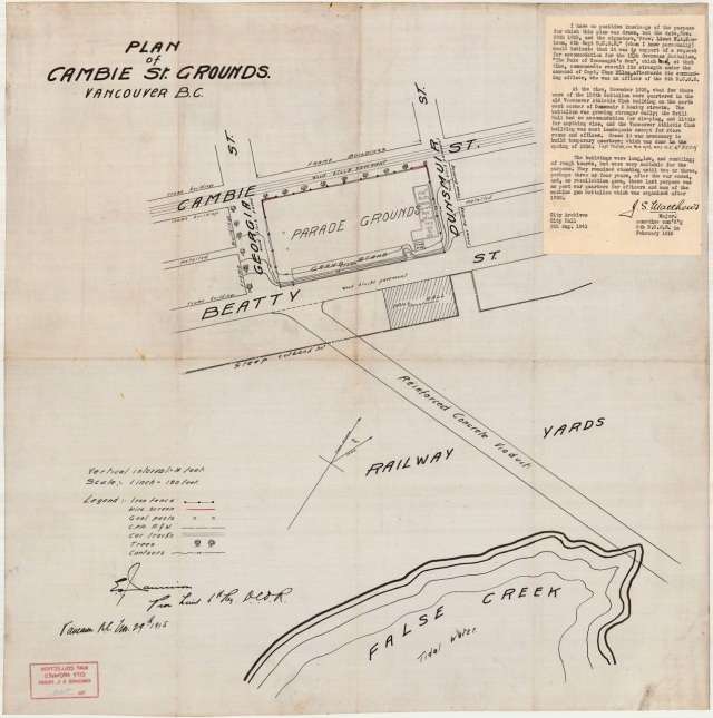 MAP 748 - Plan of Cambie St. grounds 1915 J S Matthews