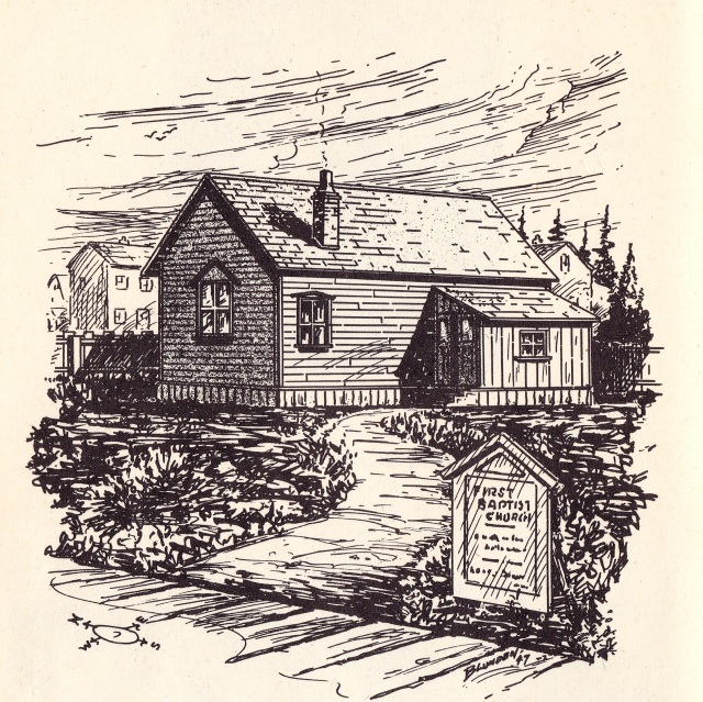 Artist's sketch of First Baptist Church, Westminster Ave., which was bujilt at the bakc of lot, now 432 Main St occupied until Fall, 1889
