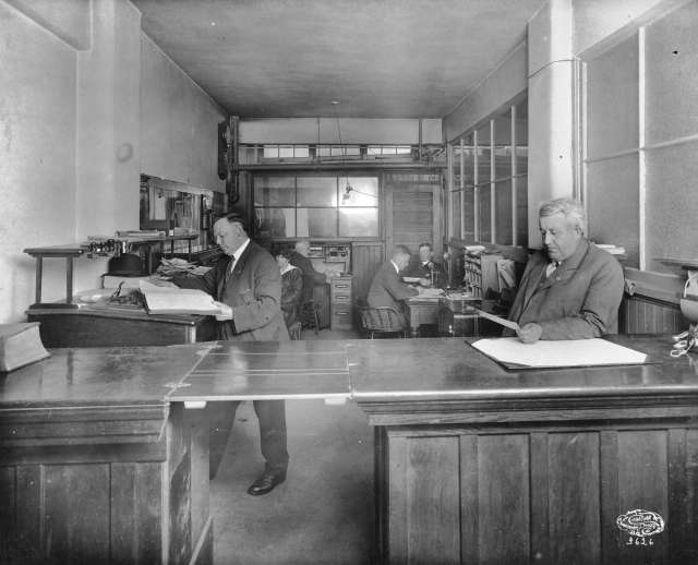 CVA 677-503 - Front office, Cowan and Brookhouse [Printing and Publishing], Labor Temple [411 Dunsmuir Street] ca 1919 Canadian Photo Co.