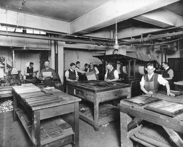 CVA 677-504 - [Printing room] Cowan and Brookhouse Printing and Publishing [411 Dunsmuir Street] ca 1916