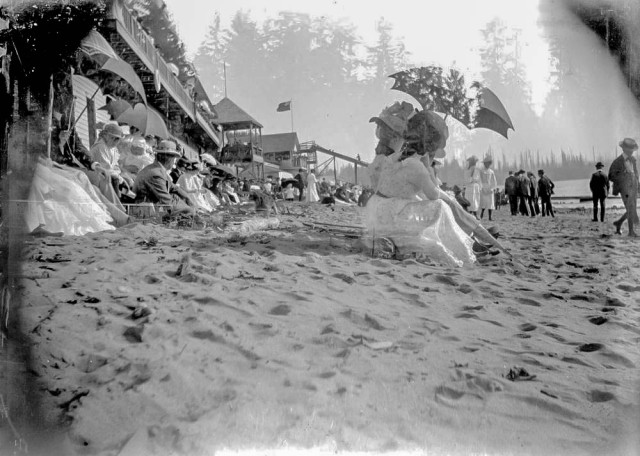 I-63128 - Crowds turned out for an event; possibly at English Bay ca1895. Royal BC Archives