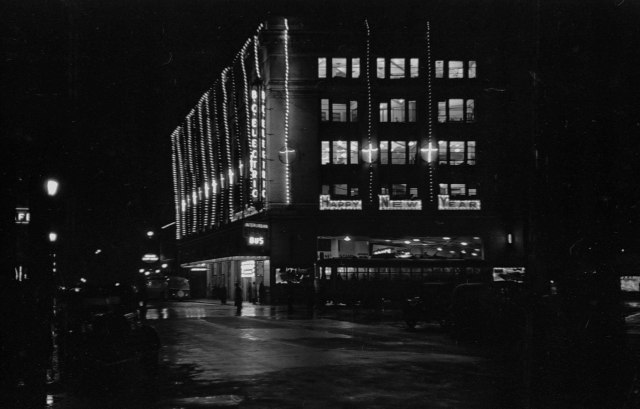 CVA 260-777 - [The B.C. Electric Building at 425 Carrall Street illuminated at night] 1937 James Crookall