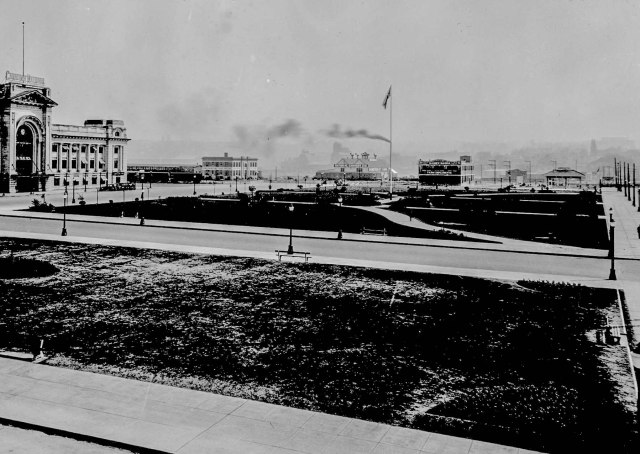 Crop of Can P23.2 -  Main and Terminal Even EARLIER. Perspective view of Canadian National Railway Station, Thornton Park and Service Station at (1500) Main Street at Terminal. ca 1932. Leonard J Frank.