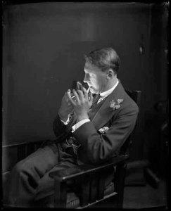 vpl 21033 Portrait of Bernard Aitken Tweedale lighting a cigarette 1920 Dominion Photo