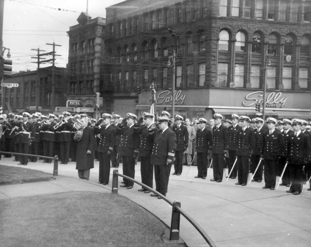 Bo P365.5 - [Officers of the Chilean training ship Presidente Pinto at cenotaph wreath ceremony] 1952 Charles Wishart