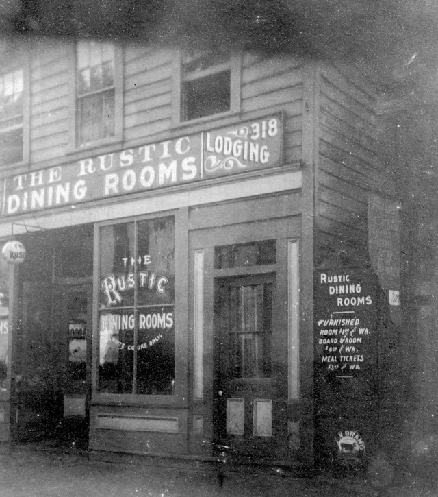CVA 371-865 - [Exterior of The Rustic Dining Rooms Lodging (house) at 318 Cordova Street] c 1901