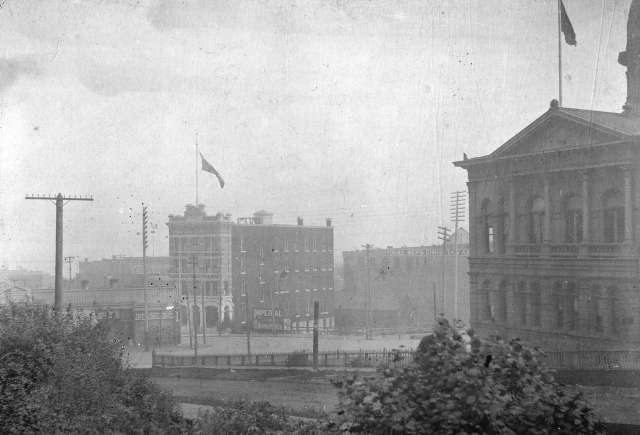 Str P67 - [View of the corner of Hastings Street at Cambie Street] Bailey Bros. ca1895